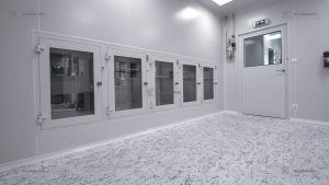 5 clean room pass boxes with a clean room door